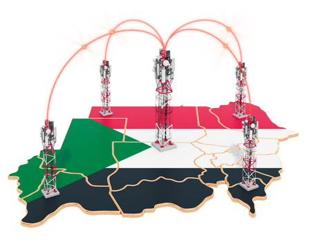 Mobile communications in Sudan, cell towers on the map. 3D rendering isolated on white background