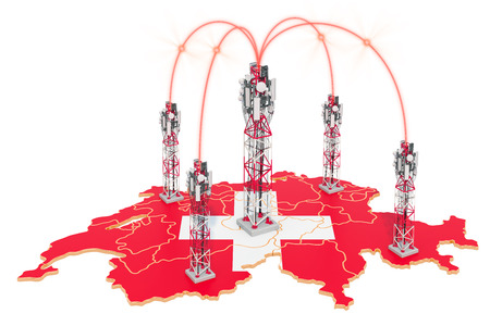 Mobile communications in Switzerland, cell towers on the map. 3D rendering isolated on white background