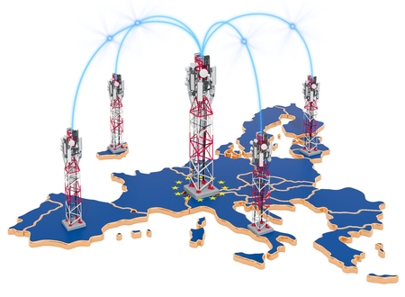 Mobile communications in the European Union, cell towers on the map. 3D rendering isolated on white background