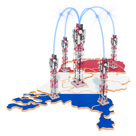 Mobile communications in the Netherlands, cell towers on the map. 3D rendering isolated on white background