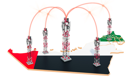 Mobile communications in the UAE, cell towers on the map. 3D rendering isolated on white background Stock Photo