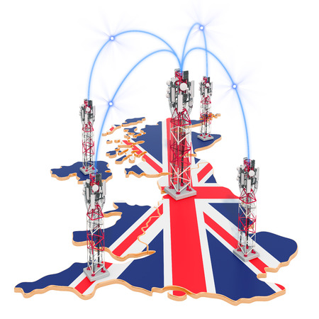 Mobile communications in the United Kingdom, cell towers on the map. 3D rendering isolated on white background Stock Photo