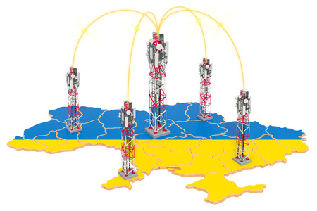 Mobile communications in Ukraine, cell towers on the map. 3D rendering isolated on white background