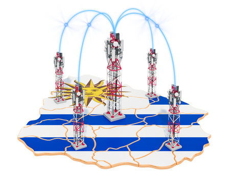 Mobile communications in Uruguay, cell towers on the map. 3D rendering isolated on white background