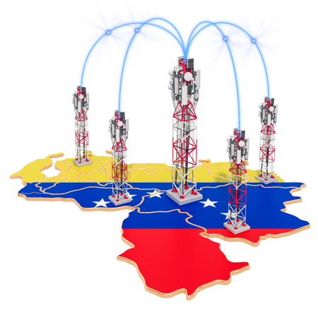 Mobile communications in Venezuela, cell towers on the map. 3D rendering isolated on white background