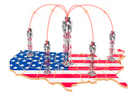 Mobile communications  in the United States, cell towers on the map. 3D rendering isolated on white background