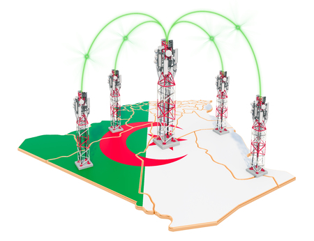 Mobile communications in Algeria, cell towers on the map. 3D rendering isolated on white background