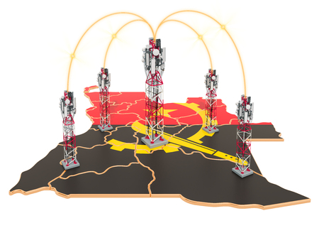Mobile communications in Angola, cell towers on the map. 3D rendering isolated on white background Stock Photo