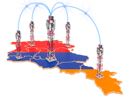 Mobile communications in Armenia, cell towers on the map. 3D rendering isolated on white background