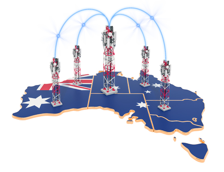 Mobile communications in Australia, cell towers on the map. 3D rendering isolated on white background Stock Photo