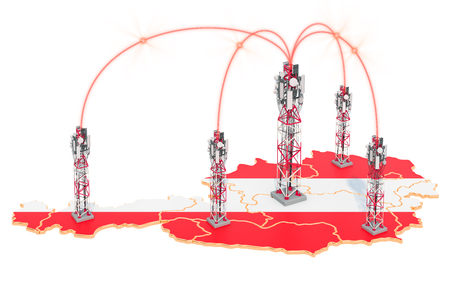 Mobile communications in Austria, cell towers on the map. 3D rendering isolated on white background