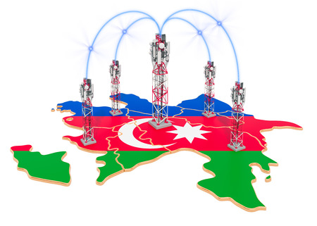 Mobile communications in Azerbaijan, cell towers on the map. 3D rendering isolated on white background Stock Photo