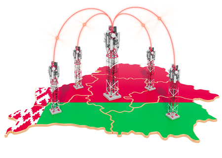 Mobile communications in Belarus, cell towers on the map. 3D rendering isolated on white background