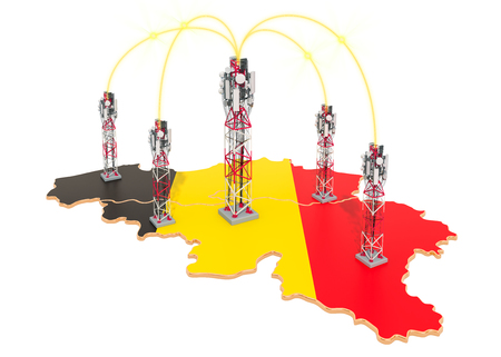 Mobile communications in Belgium, cell towers on the map. 3D rendering isolated on white background