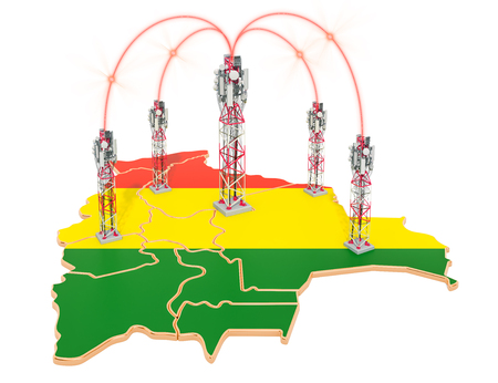 Mobile communications in Bolivia, cell towers on the map. 3D rendering isolated on white background