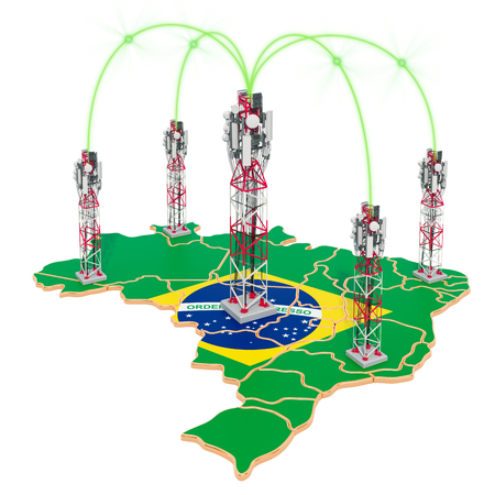 Mobile communications in Brazil, cell towers on the map. 3D rendering isolated on white background Stock Photo