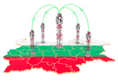 Mobile communications in Bulgaria, cell towers on the map. 3D rendering isolated on white background Stock Photo - 124084389