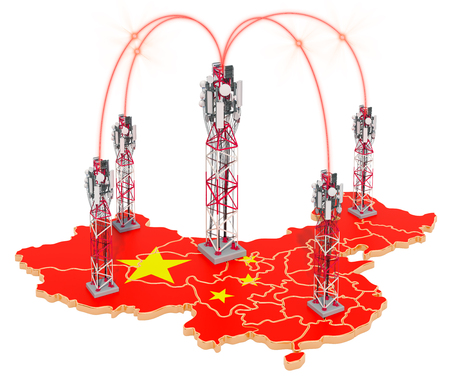 Mobile communications in China, cell towers on the map. 3D rendering isolated on white background