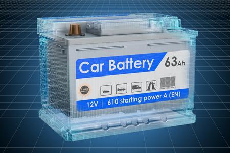 Visualization 3d cad model of Car Battery, blueprint. 3D rendering Imagens