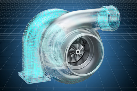 Visualization 3d cad model of car turbocharger, blueprint. 3D rendering