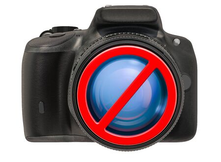 Forbidden sign with digital camera. No photo concept, 3D rendering isolated on white background