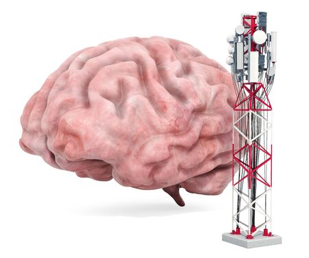 Mobile tower effect on human brain. 3D rendering isolated on white background