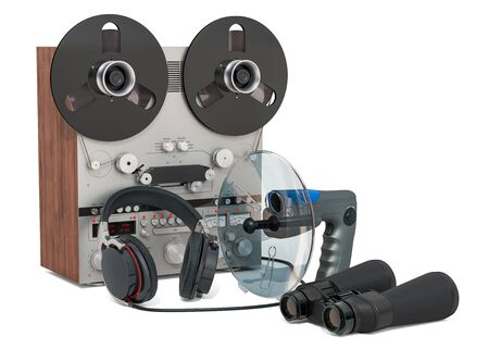 Surveillance and wiretapping concept. Set of spying equipment, 3D rendering isolated on white background Stock Photo