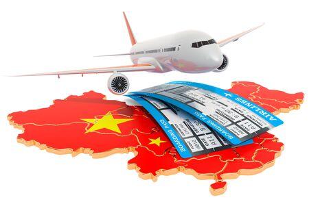 Flüge nach China-Konzept. 3D-Rendering auf weißem Hintergrund