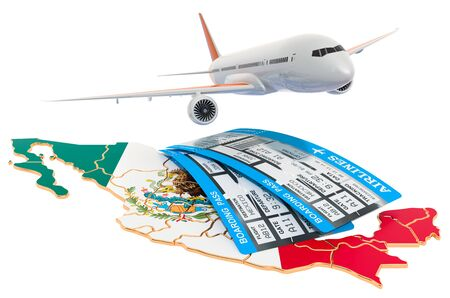 Flights to Mexico concept. 3D rendering isolated on white background