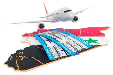 Flights to Syria concept. 3D rendering isolated on white background
