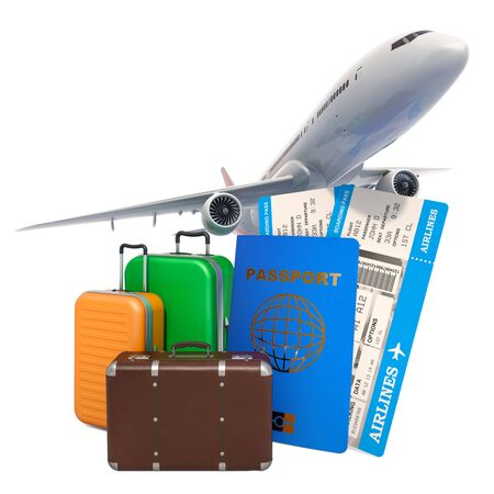 Travel concept. Airplane with passport, airline boarding pass tickets and baggage. 3D rendering Reklamní fotografie