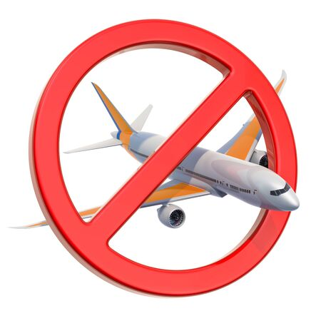 Forbidden sign with airplane, 3D rendering on white background Stock fotó