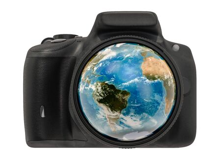 Travel and photography concept. Digital camera photo lens with earth globe inside, 3D rendering isolated on white background