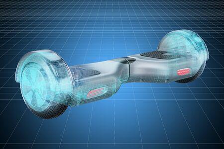 Visualisation 3D modèle cad de hoverboard, scooter auto-équilibré. rendu 3D