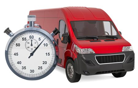 Commercial delivery van with chronometer. Fast delivery concept, 3D rendering isolated on white background Stock Photo