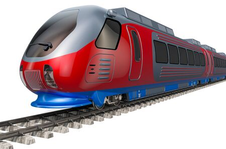 Modern high speed train on the tracks. 3D rendering isolated on white background