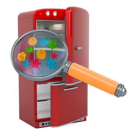 Refrigerator with viruses and bacterias under magnifying glass. 3D rendering