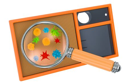 Air filter with germs and bacterias under magnifying glass. 3D rendering