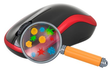 Computer mouse with germs and bacterias under magnifying glass. 3D rendering