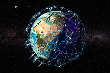 Weltraumsatelliten um die Erdkugel, 3D-Rendering