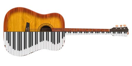 Acoustic guitar and piano. Music duet concept, 3D rendering isolated on white background