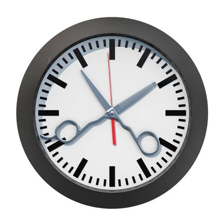 Barbershop Time concept. Clock face with scissors, 3D rendering isolated on white background