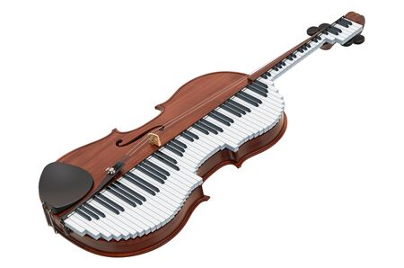 Classical music duet concept. Violin and piano, 3D rendering isolated on white background Фото со стока