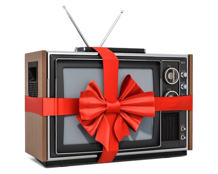 Gift concept, TV set with red ribbon and bow. 3D rendering isolated on white background Banco de Imagens