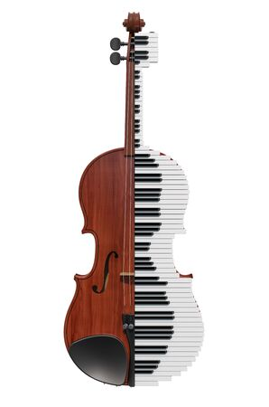 Violin and piano. Classical music concept, 3D rendering isolated on white background Фото со стока - 125791290