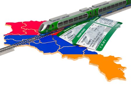 Train travel in Armenia, concept. 3D rendering isolated on white background