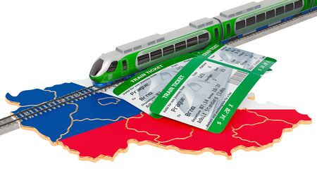 Train travel in Czech Republic, concept. 3D rendering isolated on white background Stock Photo