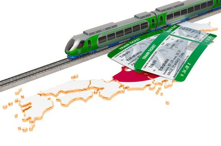 Train travel in Japan, concept. 3D rendering isolated on white background Stock Photo