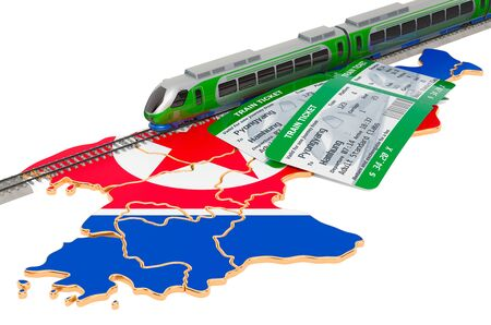 Train travel in North Korea, concept. 3D rendering isolated on white background
