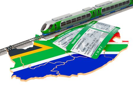 Train travel in South Africa, concept. 3D rendering isolated on white background Stock Photo